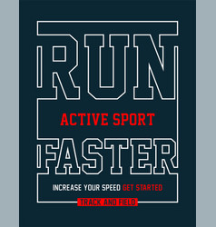 athletic sport run faster typography vector image