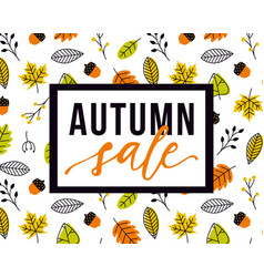 autumn sale flyer template with lettering vector image