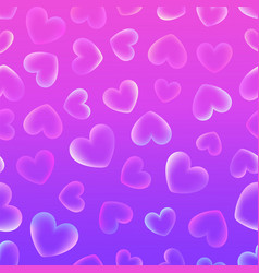 background with transparent tender hearts on a vector image