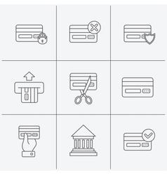 Bank credit card icons Banking signs vector image