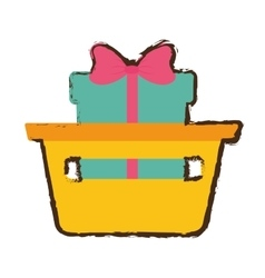 Basket shop with gift box ribbon sketch vector