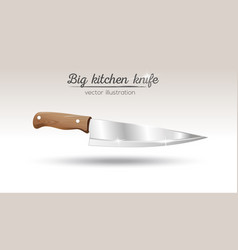 Big chef kitchen knife with wooden handle vector