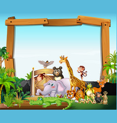 Border template design with cute animals vector