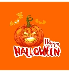 Bright Halloween card with pumpkin and bat vector image