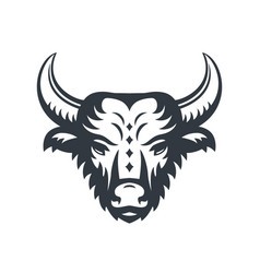 buffalo head logo element isolated over white vector image
