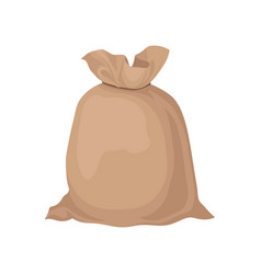 Burlap sack tied with rope big brown bag with vector