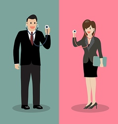 Businessman and woman holding stethoscope vector image