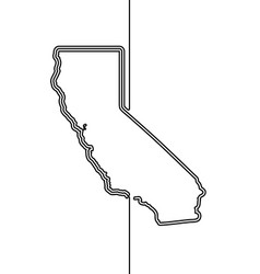 California continuous contour line drawing vector