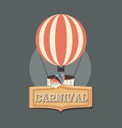 Carnival hot air balloon recreation retro vector