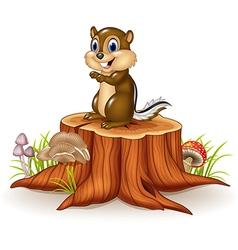 Cartoon chipmunk sitting on tree stump vector