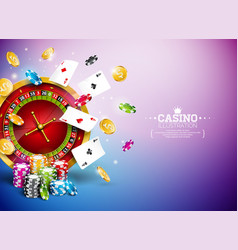 Casino with roulette wheel falling vector