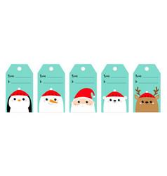 Christmas gift tag set santa claus white polar vector