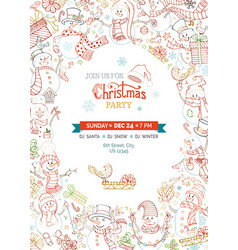christmas party invitation template with cute vector image
