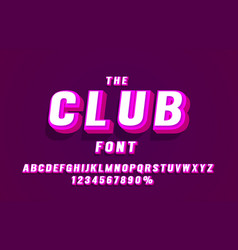 club font set collection letters and numbers vector image
