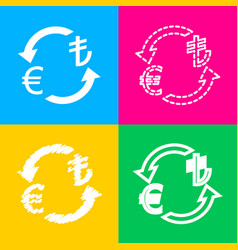 currency exchange sign euro and turkey lira four vector image