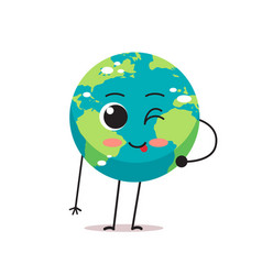 cute earth character blinking and showing tongue vector image