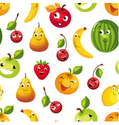 cute funny fruits seamless pattern pear apple vector image
