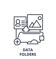 data folders line icon concept data folders vector image