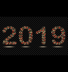 digits 2019 of fairy lights vector image