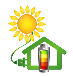 eco house and solar energy vector image