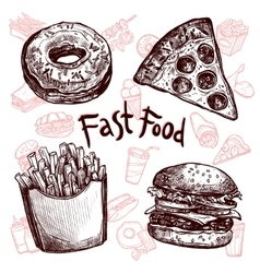 Fast food and drinks sketch set vector