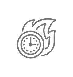 Fire with clock deadline time-limit line icon vector