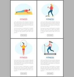 fitness active lifestyle and sporting people set vector image