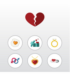 flat icon love set of closed sexuality symbol vector image