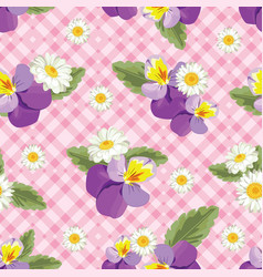 Floral seamless pattern pansies with chamomiles vector