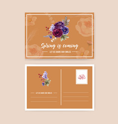 Floral wine postcard design with rose peony vector