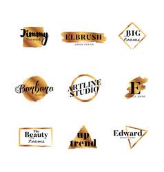 golden brush typography logo vector image