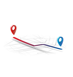 Gps navigator route from point a to point b on the vector