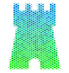 Halftone blue-green bulwark tower icon vector