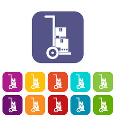 Hand cart with cardboards icons set vector