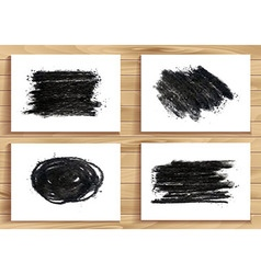 Hand drawn charcoal chalk texture set vector