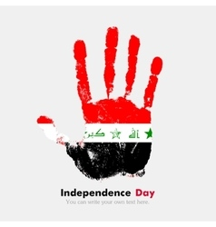Handprint with the Flag of Iraq in grunge style vector image