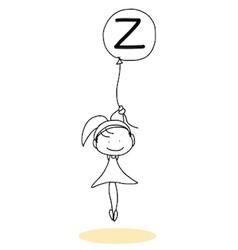 Happy alphabet hand-drawn cartoon vector