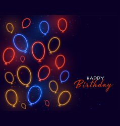 Happy birthday card in neon balloons decoration vector