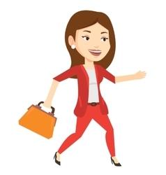 Happy business woman running vector