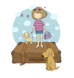 happy travel cute cartoon girl dog and suitcases vector image