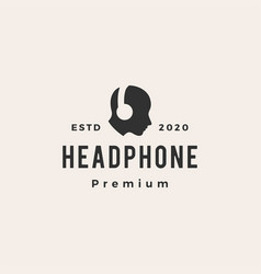headphone hipster vintage logo icon vector image