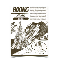 hiking healthy lifestyle advertising poster vector image