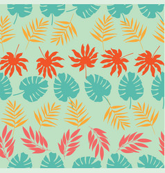 horizontal rows tropical leaves seamless vector image