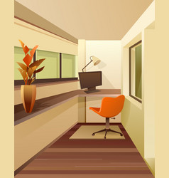 Interior workplace on balcony vector