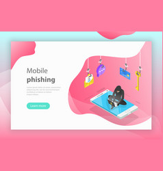 isometric concept of phishing computer vector image