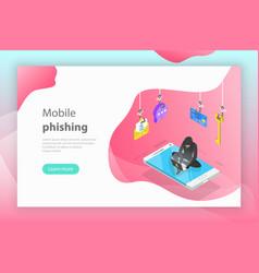 isometric concept phishing computer vector image