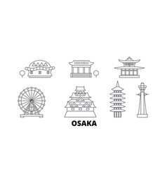 japan osaka line travel skyline set japan osaka vector image