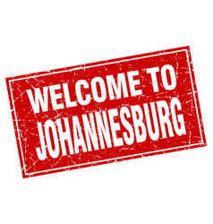 Johannesburg red square grunge welcome to stamp vector