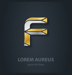 Letter F Template for company logo 3d Design vector