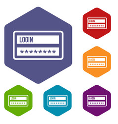 login and password icons set vector image